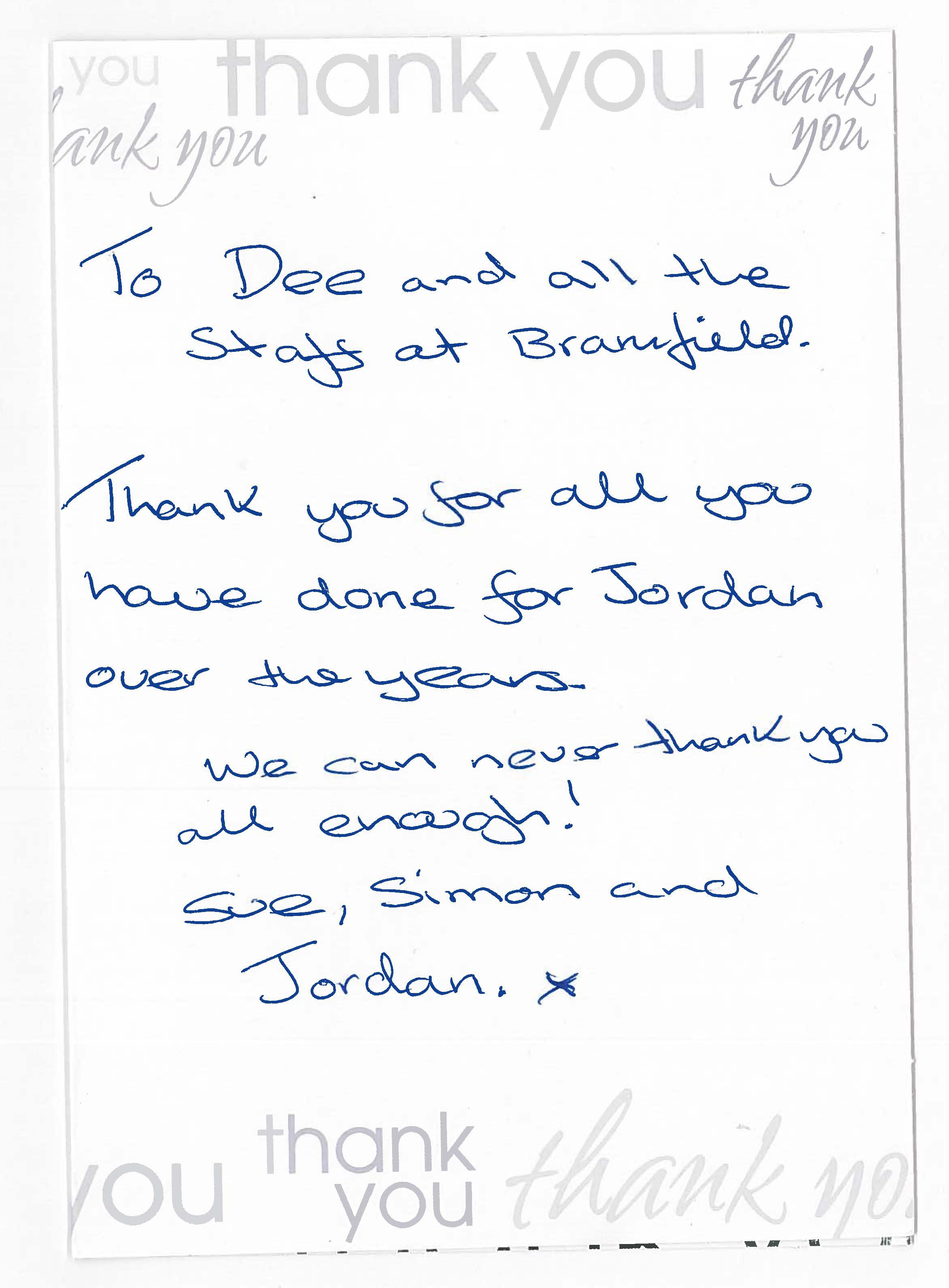 Thank You Card From Year 11 Pupil Parents To Headteacher 2