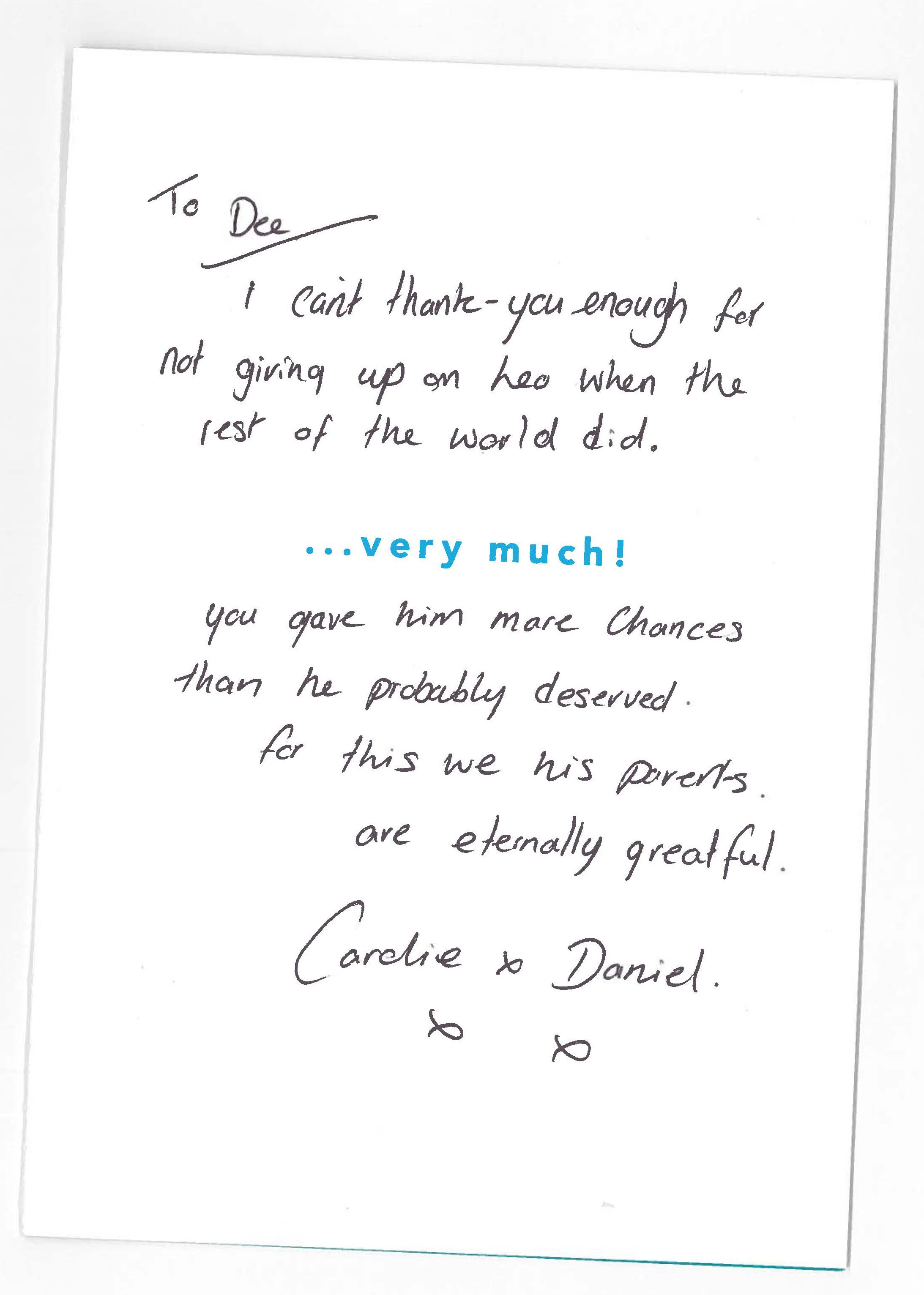 Thank You Card From Year 11 Pupil Parents To Headteacher 1
